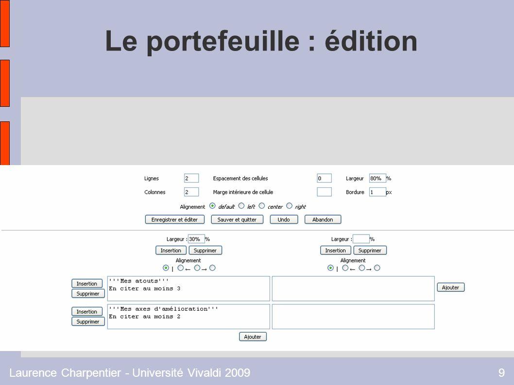Laurence Charpentier - Université Vivaldi 20099 Le portefeuille : édition