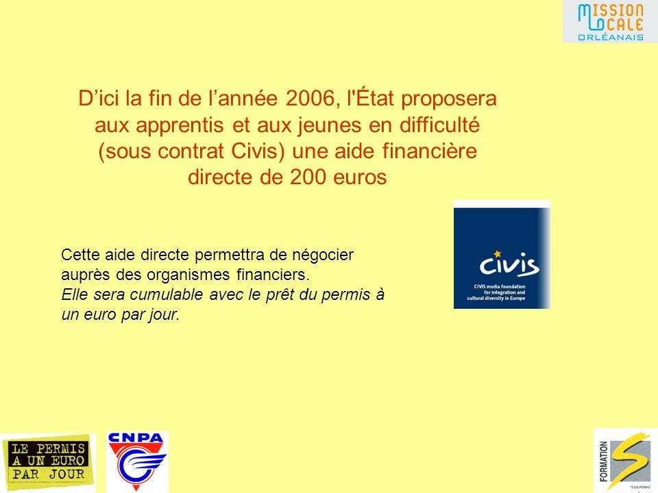 Dici la fin de lannée 2006, l État proposera aux apprentis et aux jeunes en difficulté (sous contrat Civis) une aide financière directe de 200 euros Cette aide directe permettra de négocier auprès des organismes financiers.