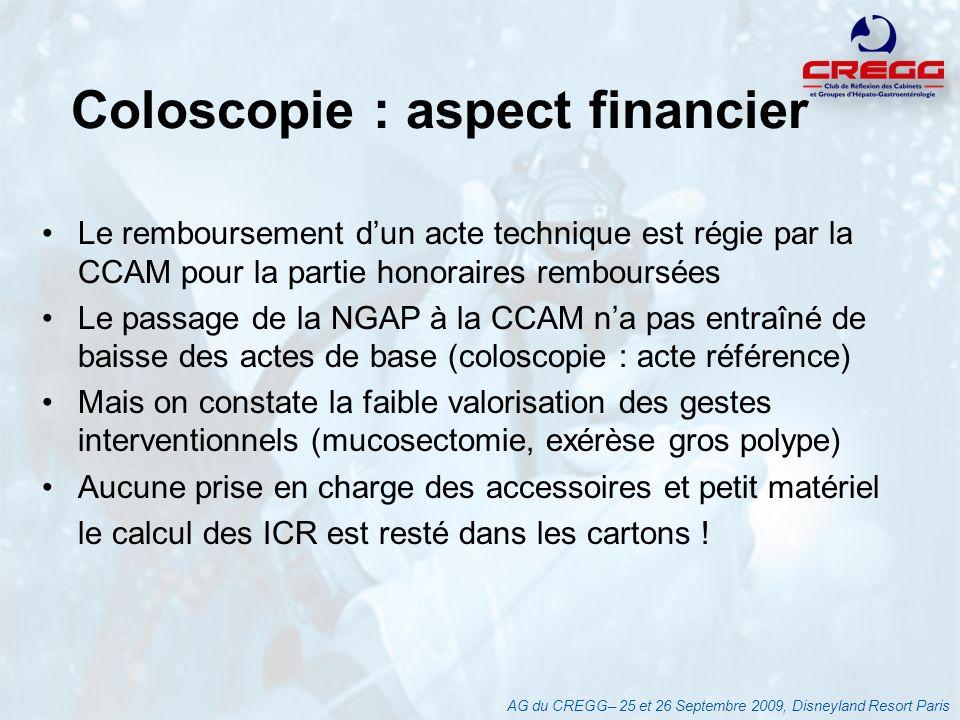 Coloscopie : aspect financier Le remboursement dun acte technique est régie par la CCAM pour la partie honoraires remboursées Le passage de la NGAP à