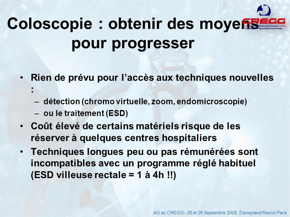 Coloscopie : obtenir des moyens pour progresser Rien de prévu pour laccès aux techniques nouvelles : –détection (chromo virtuelle, zoom, endomicroscop