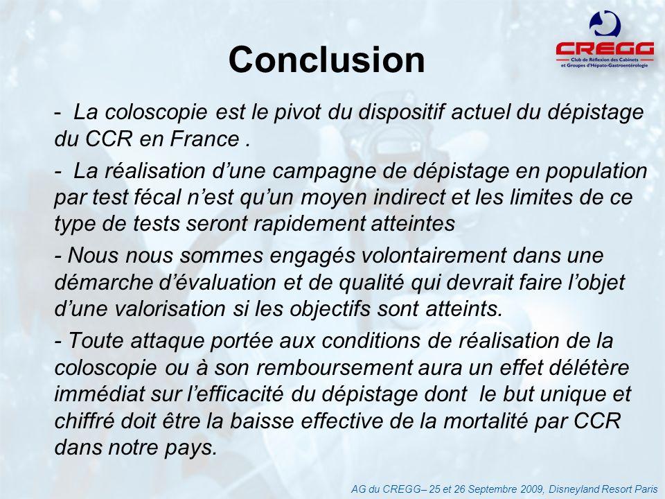 Conclusion - La coloscopie est le pivot du dispositif actuel du dépistage du CCR en France. - La réalisation dune campagne de dépistage en population