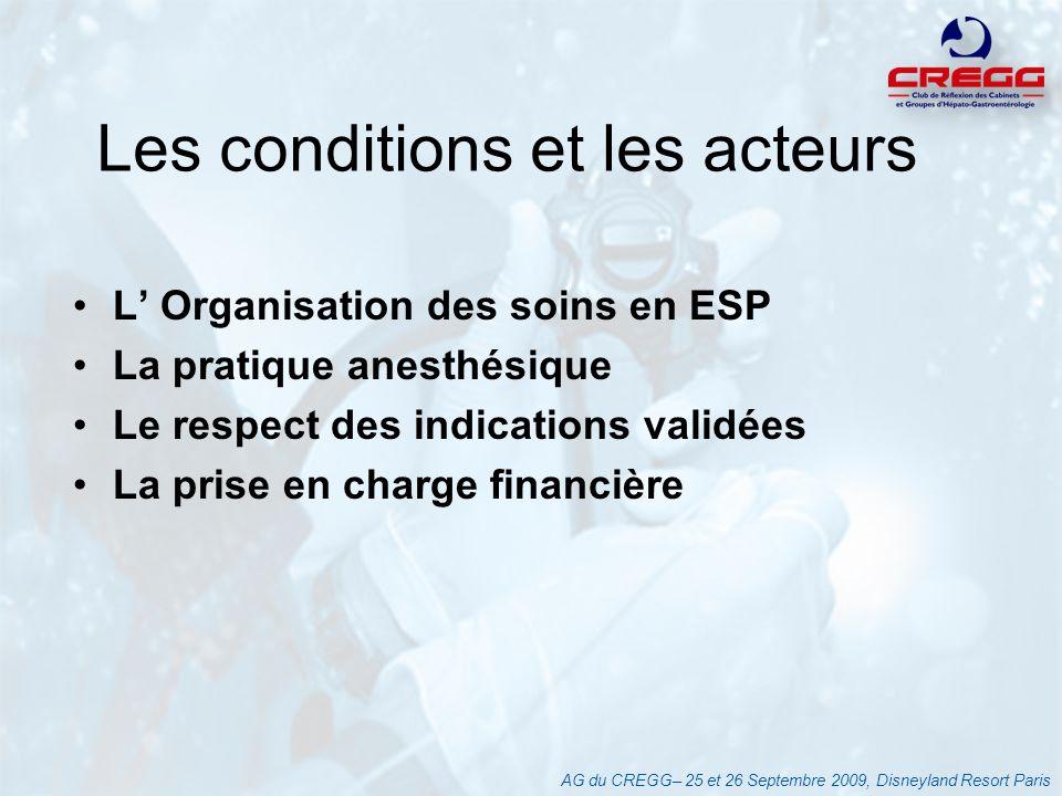 Les conditions et les acteurs L Organisation des soins en ESP La pratique anesthésique Le respect des indications validées La prise en charge financiè