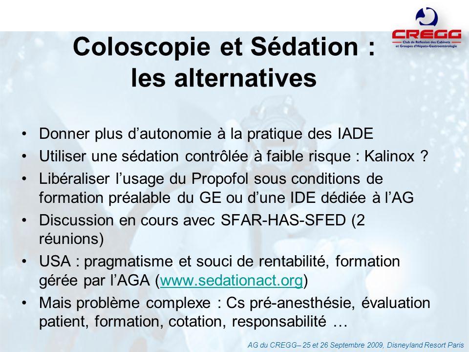 Coloscopie et Sédation : les alternatives Donner plus dautonomie à la pratique des IADE Utiliser une sédation contrôlée à faible risque : Kalinox ? Li