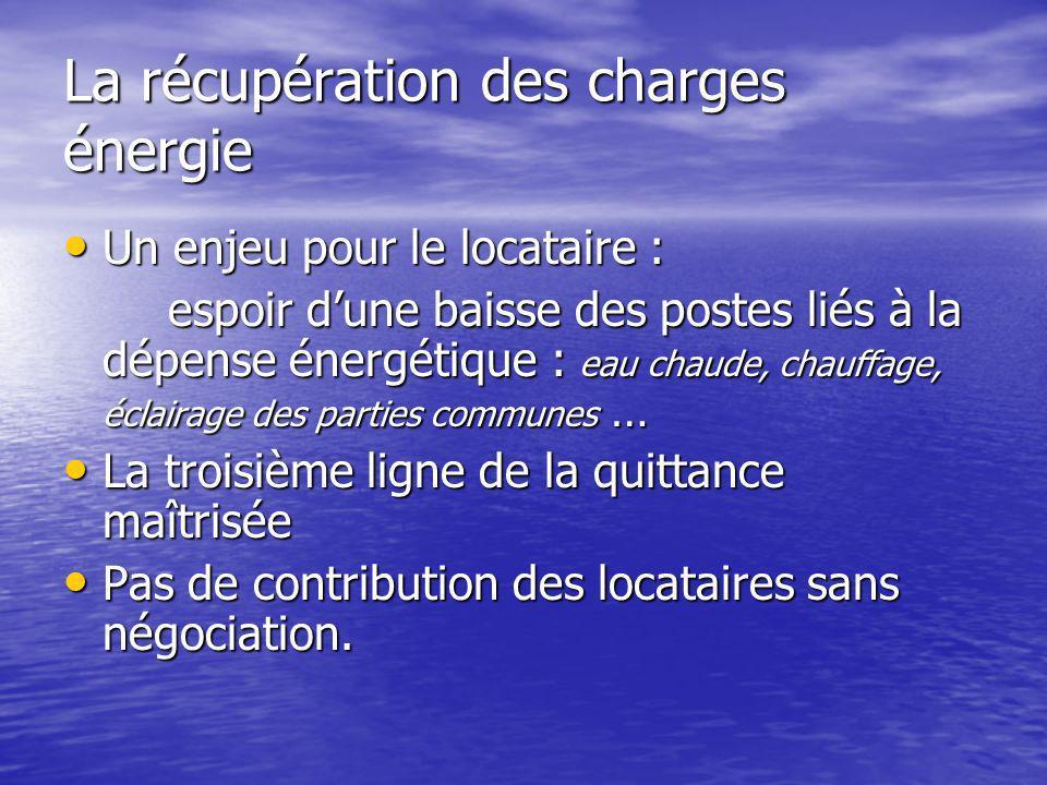 La récupération des charges énergie Un enjeu pour le locataire : Un enjeu pour le locataire : espoir dune baisse des postes liés à la dépense énergéti