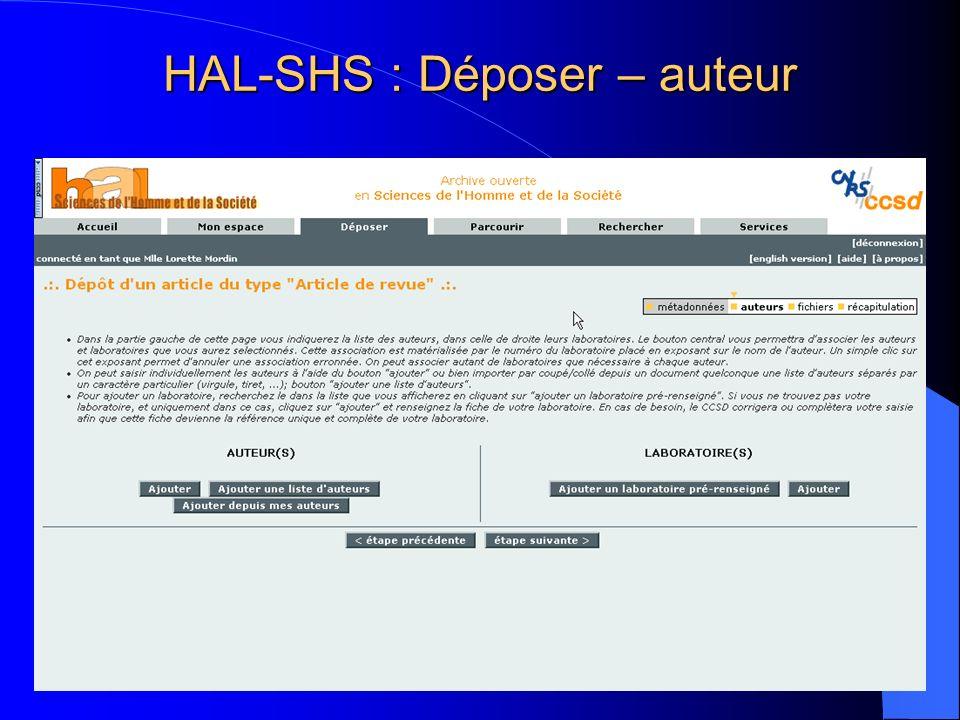 HAL-SHS : Déposer – auteur