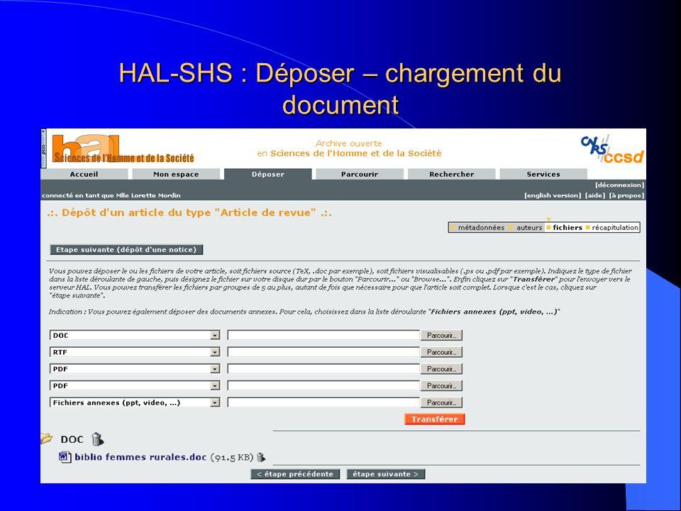 HAL-SHS : Déposer – chargement du document