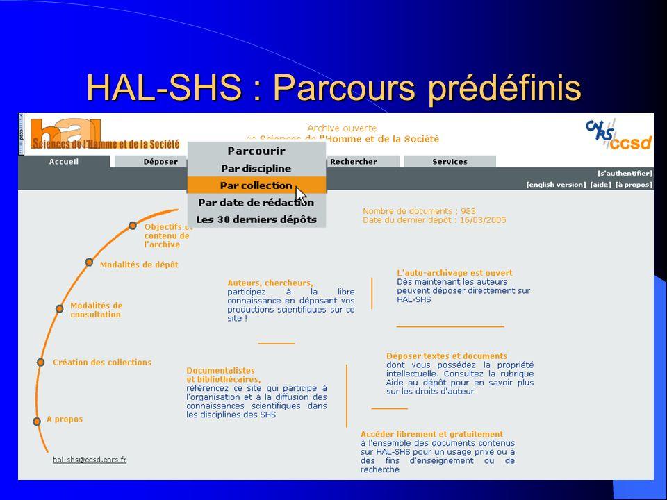 HAL-SHS : Parcours prédéfinis