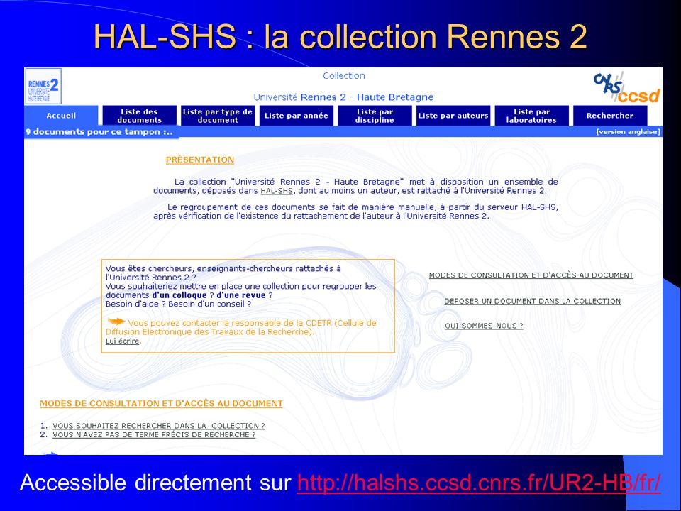 HAL-SHS : la collection Rennes 2 Accessible directement sur http://halshs.ccsd.cnrs.fr/UR2-HB/fr/http://halshs.ccsd.cnrs.fr/UR2-HB/fr/