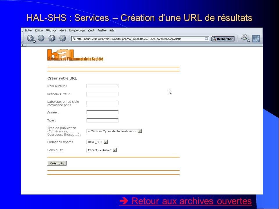 HAL-SHS : Services – Création dune URL de résultats Retour aux archives ouvertes
