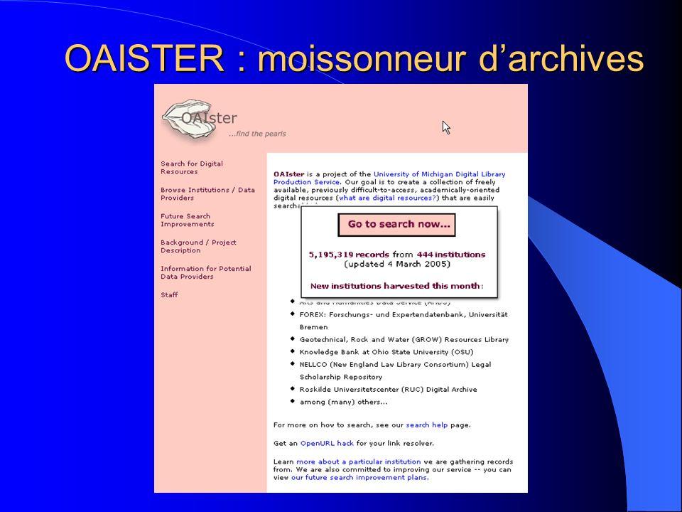 OAISTER : moissonneur darchives