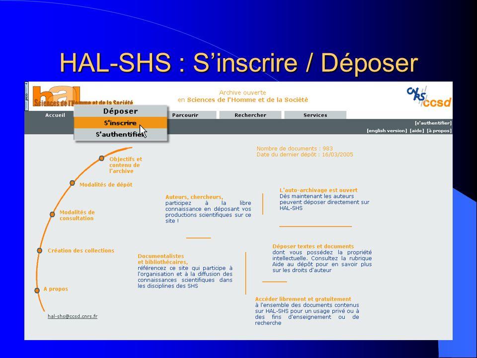 HAL-SHS : Services – Exportation de publications