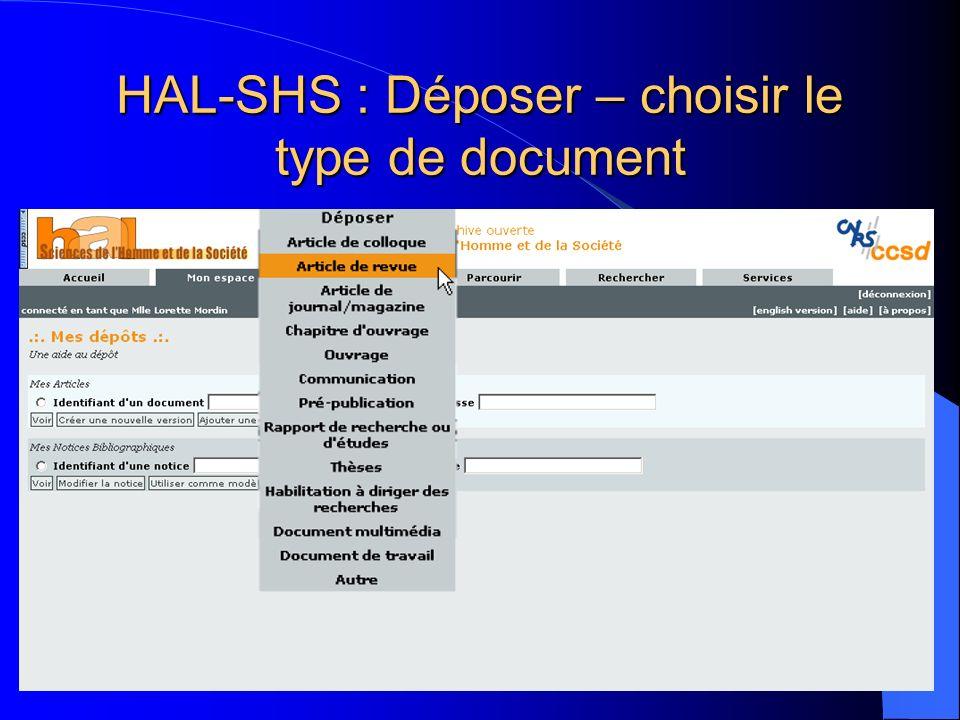 HAL-SHS : Déposer – choisir le type de document