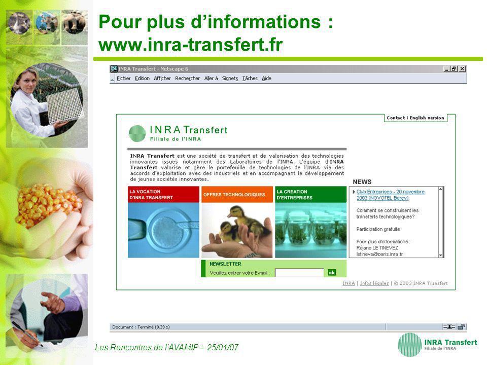 Les Rencontres de lAVAMIP – 25/01/07 Pour plus dinformations : www.inra-transfert.fr