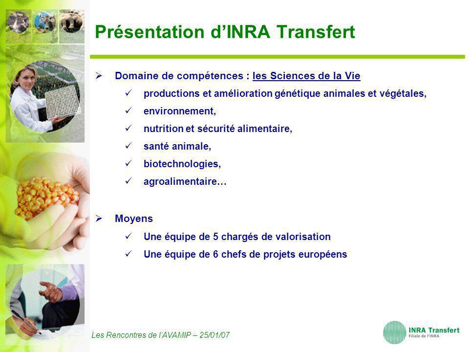 Les Rencontres de lAVAMIP – 25/01/07 Présentation dINRA Transfert Domaine de compétences : les Sciences de la Vie productions et amélioration génétiqu