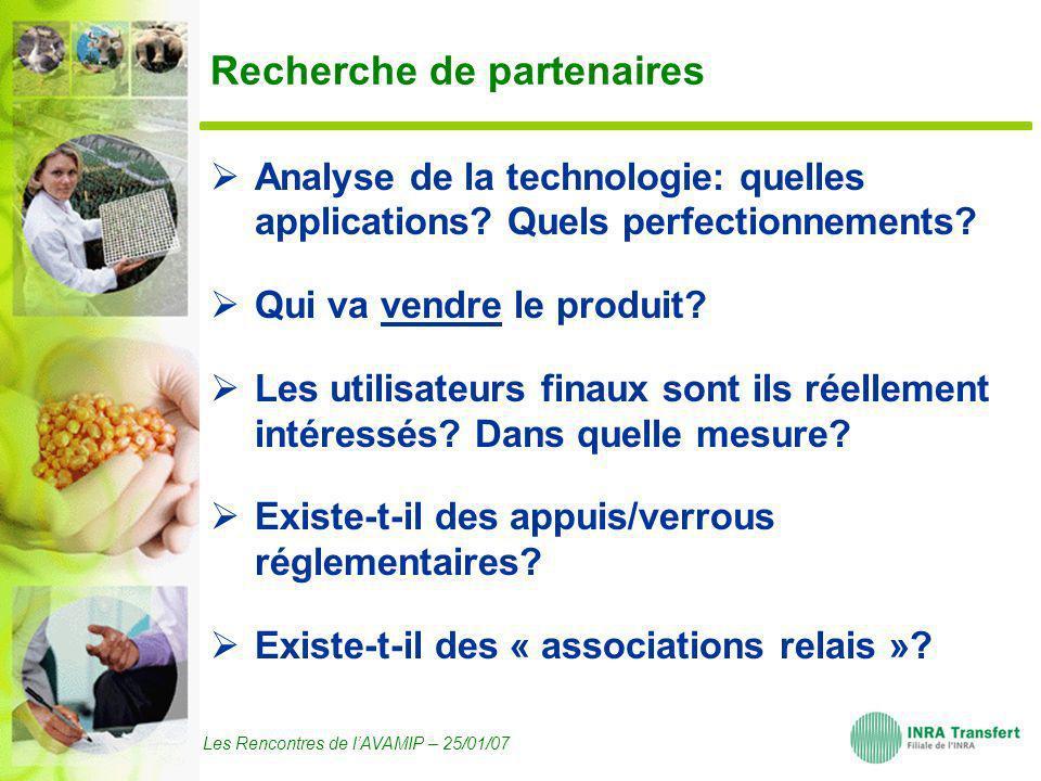 Les Rencontres de lAVAMIP – 25/01/07 Recherche de partenaires Analyse de la technologie: quelles applications? Quels perfectionnements? Qui va vendre