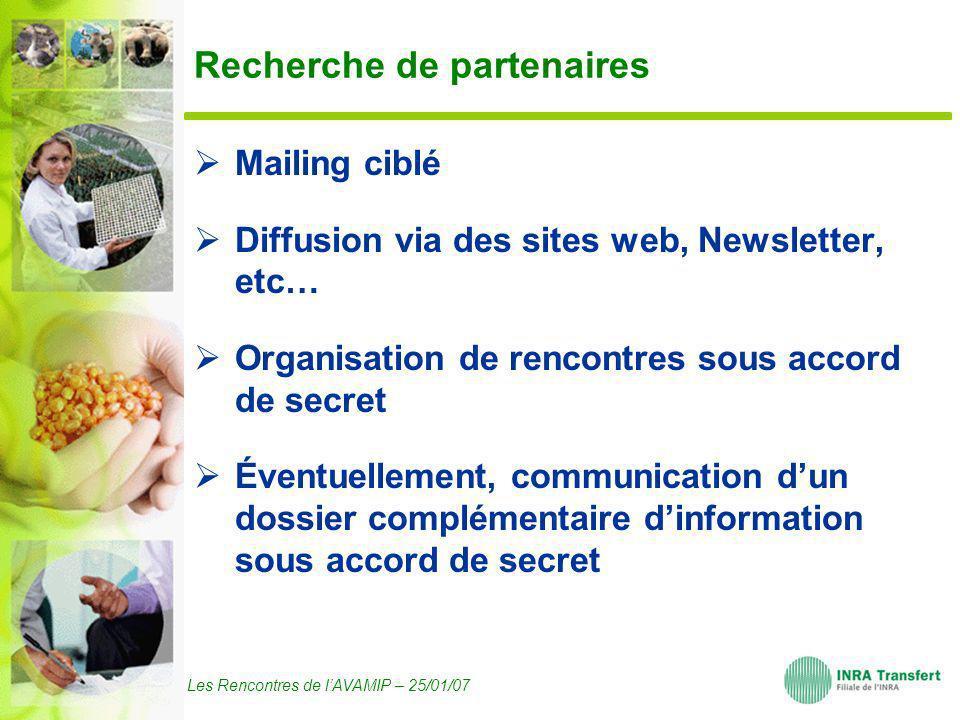 Les Rencontres de lAVAMIP – 25/01/07 Recherche de partenaires Mailing ciblé Diffusion via des sites web, Newsletter, etc… Organisation de rencontres s