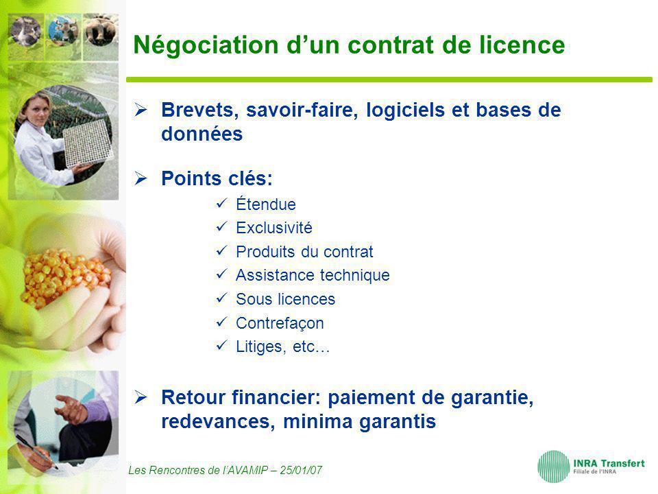 Les Rencontres de lAVAMIP – 25/01/07 Négociation dun contrat de licence Brevets, savoir-faire, logiciels et bases de données Points clés: Étendue Excl