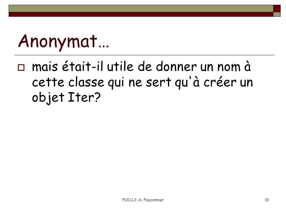 POO-L3 H. Fauconnier10 Anonymat… mais était-il utile de donner un nom à cette classe qui ne sert qu'à créer un objet Iter?