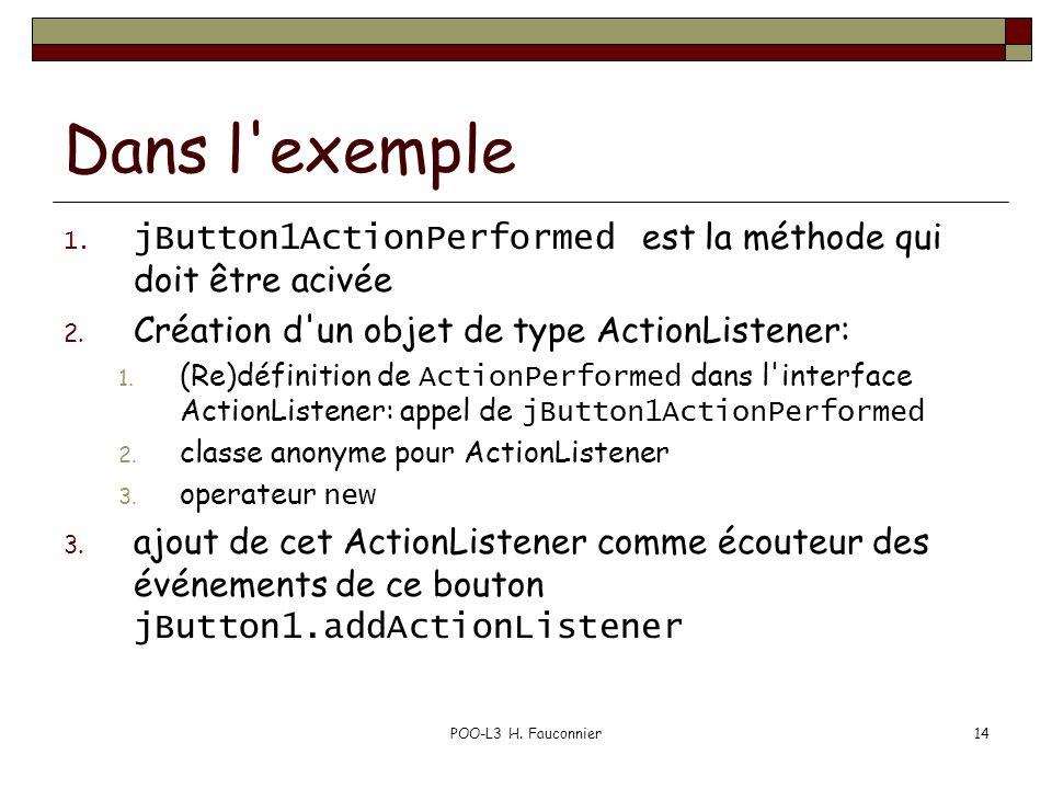 POO-L3 H. Fauconnier14 Dans l'exemple 1. jButton1ActionPerformed est la méthode qui doit être acivée 2. Création d'un objet de type ActionListener: 1.