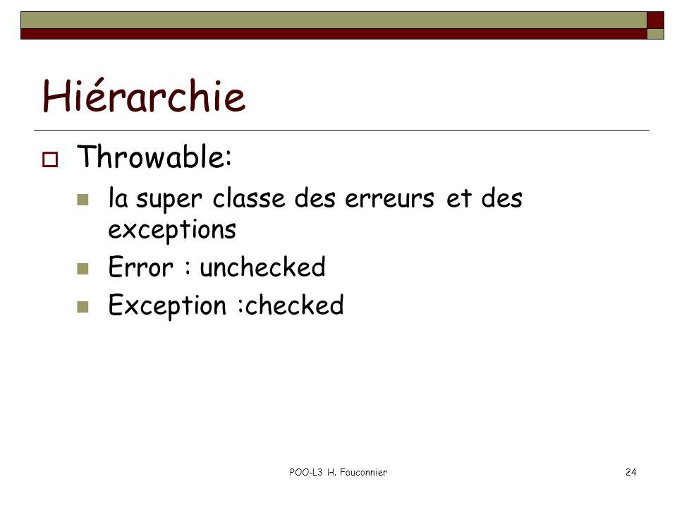 POO-L3 H. Fauconnier24 Hiérarchie Throwable: la super classe des erreurs et des exceptions Error : unchecked Exception :checked