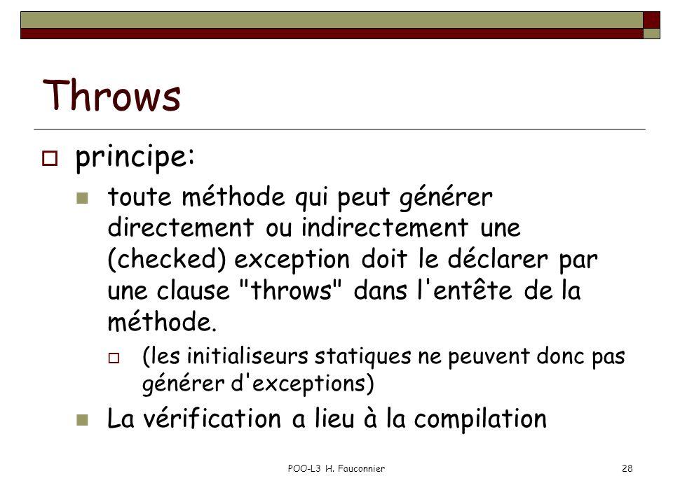 POO-L3 H. Fauconnier28 Throws principe: toute méthode qui peut générer directement ou indirectement une (checked) exception doit le déclarer par une c