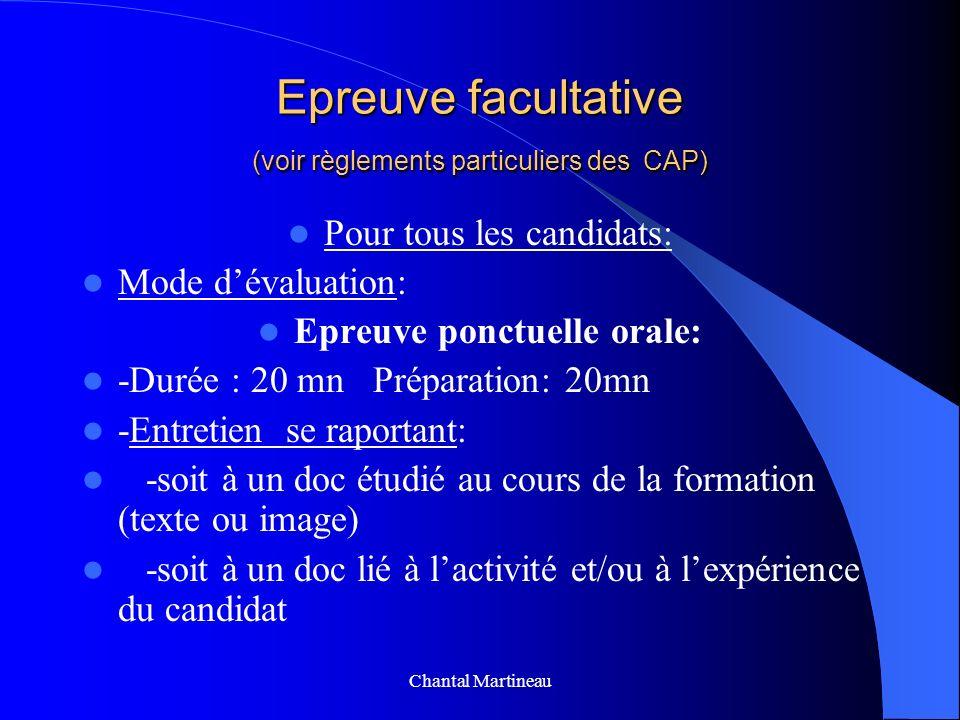 Epreuve facultative (voir règlements particuliers des CAP) Pour tous les candidats: Mode dévaluation: Epreuve ponctuelle orale: -Durée : 20 mn Prépara