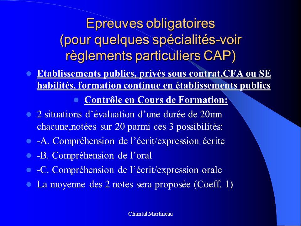 Epreuves obligatoires (pour quelques spécialités-voir règlements particuliers CAP) Etablissements publics, privés sous contrat,CFA ou SE habilités, fo