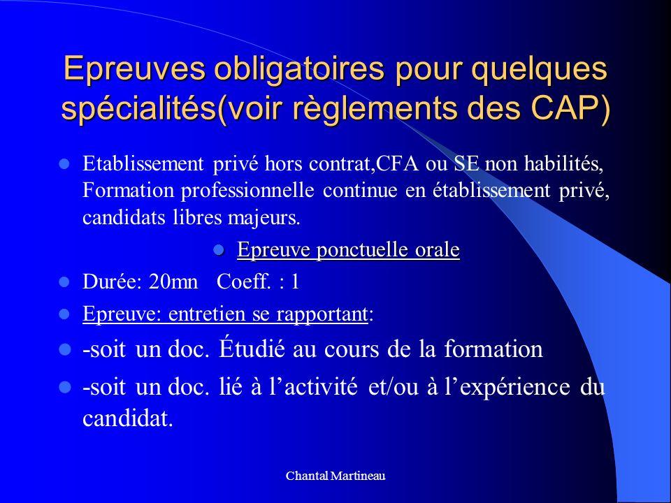 Epreuves obligatoires pour quelques spécialités(voir règlements des CAP) Etablissement privé hors contrat,CFA ou SE non habilités, Formation professio