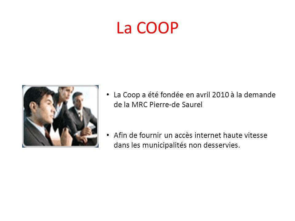 La COOP La Coop a été fondée en avril 2010 à la demande de la MRC Pierre-de Saurel Afin de fournir un accès internet haute vitesse dans les municipali