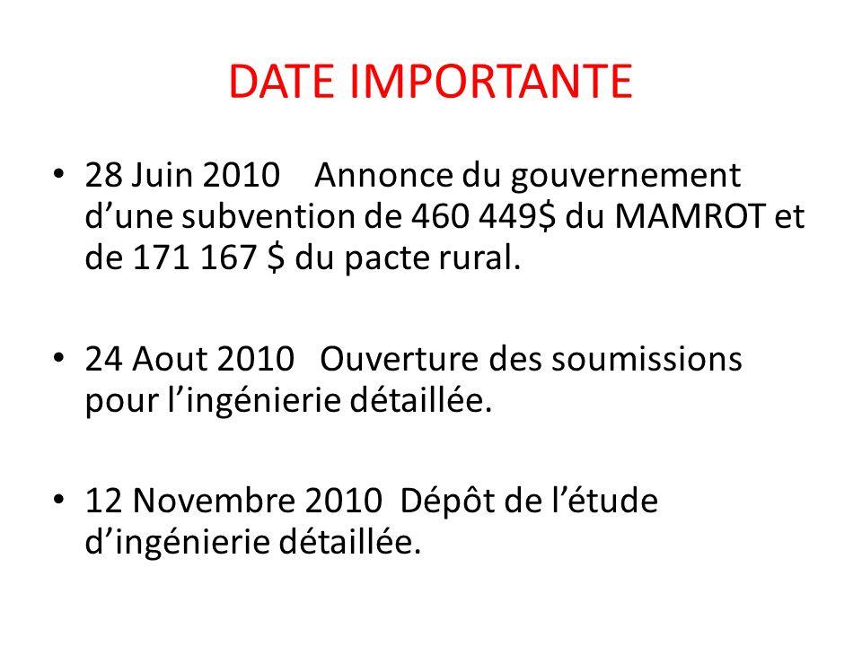 DATE IMPORTANTE 28 Juin 2010 Annonce du gouvernement dune subvention de 460 449$ du MAMROT et de 171 167 $ du pacte rural. 24 Aout 2010 Ouverture des