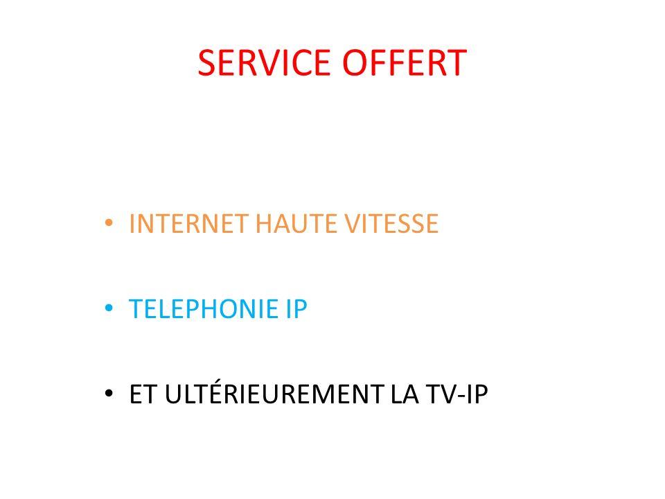 SERVICE OFFERT INTERNET HAUTE VITESSE TELEPHONIE IP ET ULTÉRIEUREMENT LA TV-IP