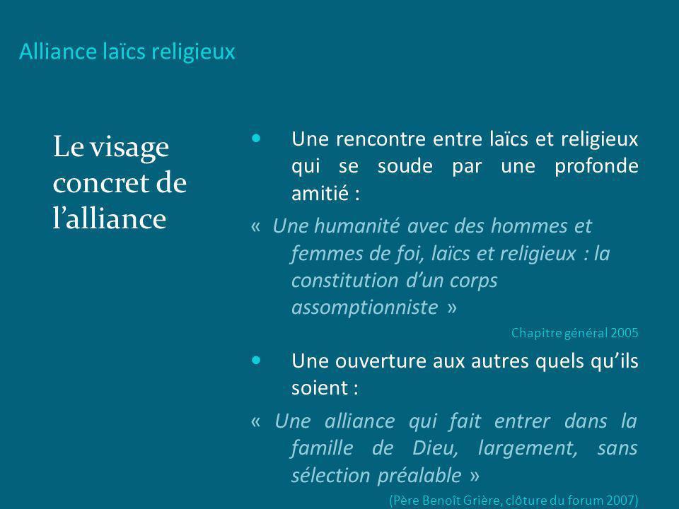 Alliance laïcs religieux Le visage concret de lalliance Une rencontre entre laïcs et religieux qui se soude par une profonde amitié : « Une humanité a