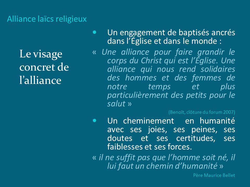 Alliance laïcs religieux Le visage concret de lalliance Un engagement de baptisés ancrés dans lÉglise et dans le monde : « Une alliance pour faire gra
