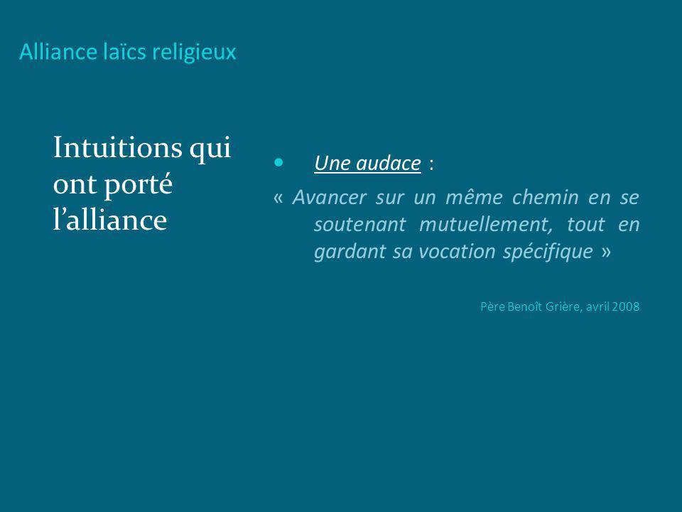 Alliance laïcs religieux Intuitions qui ont porté lalliance Une audace : « Avancer sur un même chemin en se soutenant mutuellement, tout en gardant sa