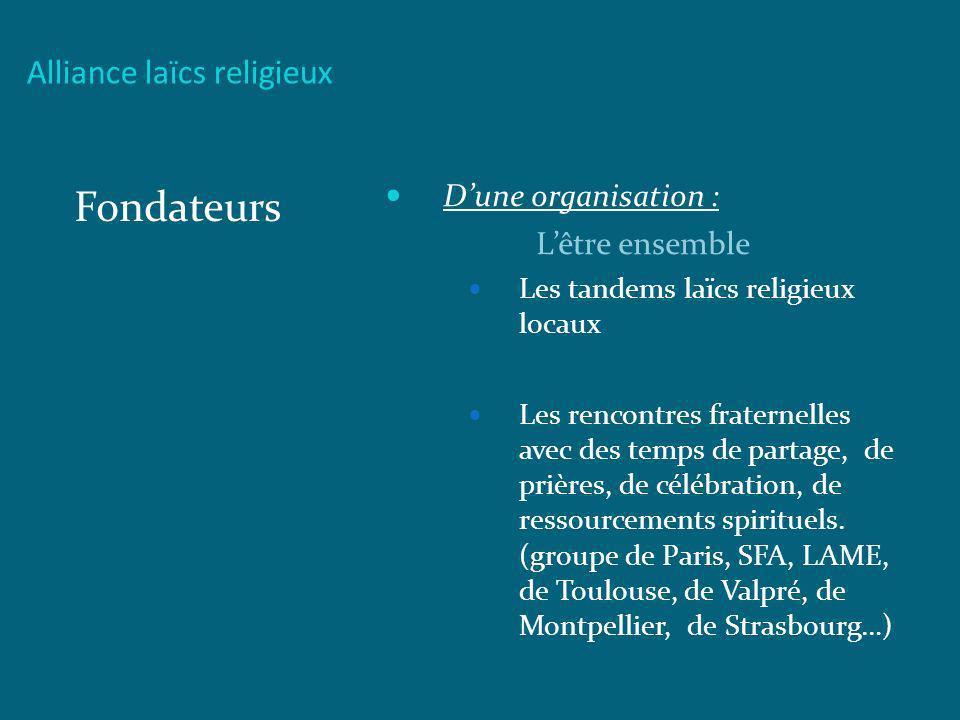 Alliance laïcs religieux Fondateurs Dune organisation : Lêtre ensemble Les tandems laïcs religieux locaux Les rencontres fraternelles avec des temps d