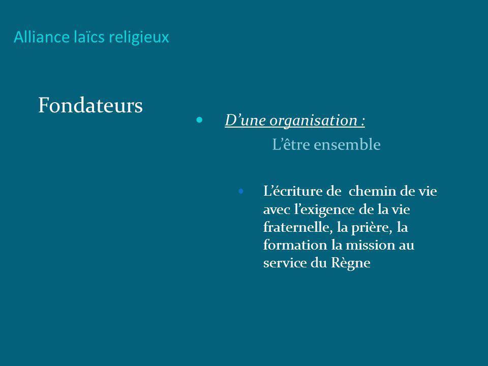 Alliance laïcs religieux Fondateurs Dune organisation : Lêtre ensemble Lécriture de chemin de vie avec lexigence de la vie fraternelle, la prière, la