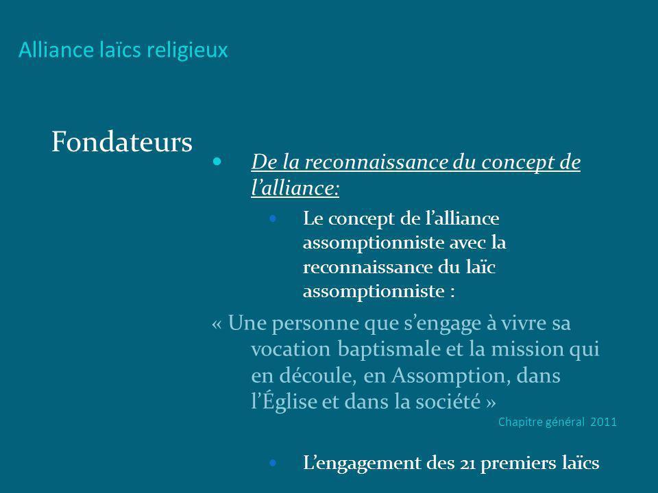 Alliance laïcs religieux Fondateurs De la reconnaissance du concept de lalliance: Le concept de lalliance assomptionniste avec la reconnaissance du la