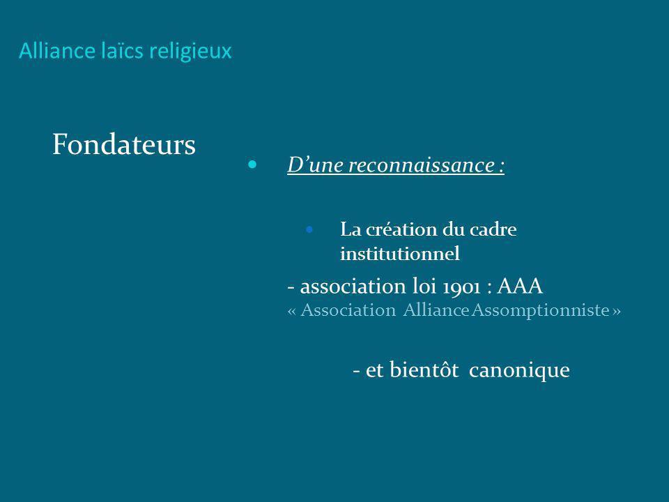 Alliance laïcs religieux Fondateurs Dune reconnaissance : La création du cadre institutionnel - association loi 1901 : AAA « Association Alliance Asso