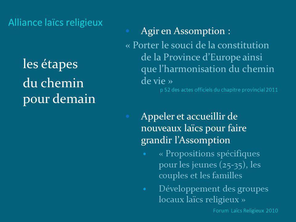Alliance laïcs religieux les étapes du chemin pour demain Agir en Assomption : « Porter le souci de la constitution de la Province dEurope ainsi que l