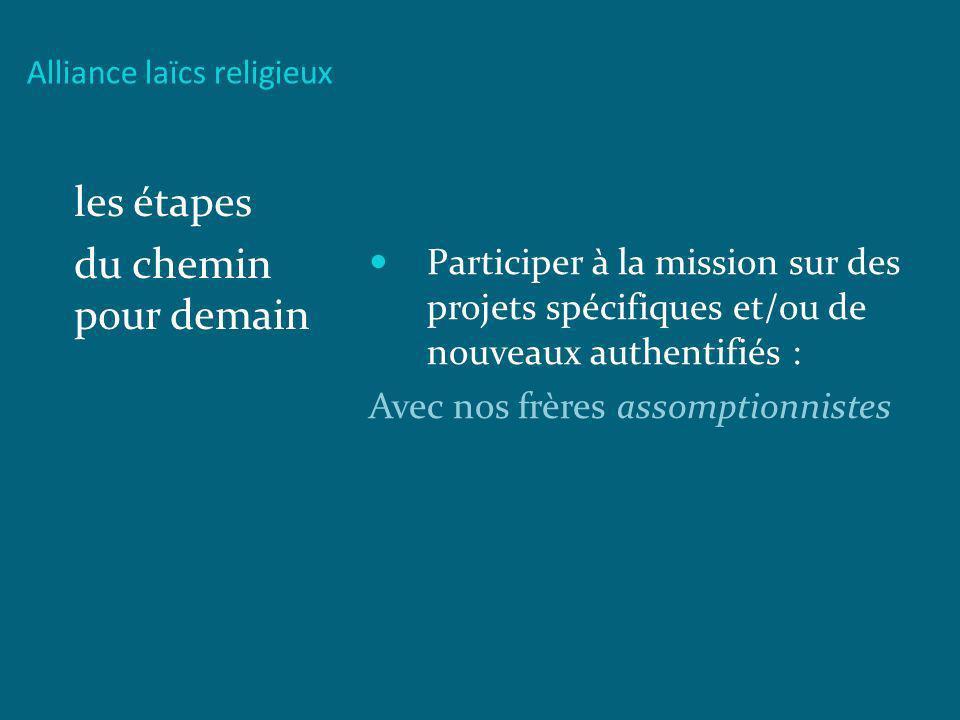 Alliance laïcs religieux les étapes du chemin pour demain Participer à la mission sur des projets spécifiques et/ou de nouveaux authentifiés : Avec no
