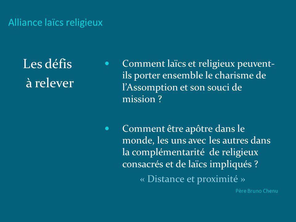 Alliance laïcs religieux Les défis à relever Comment laïcs et religieux peuvent- ils porter ensemble le charisme de lAssomption et son souci de missio