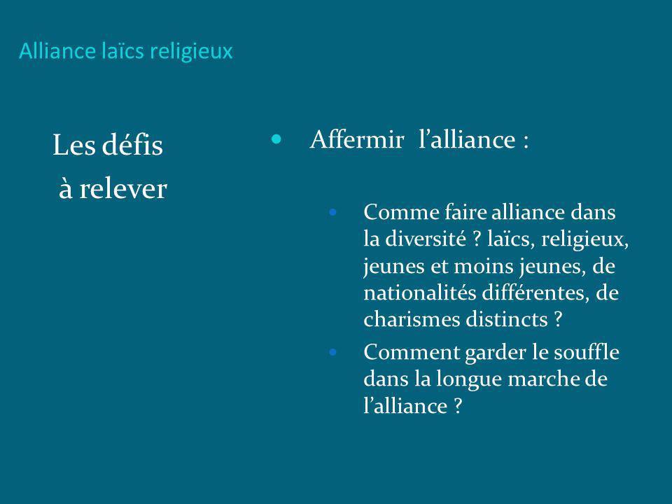 Alliance laïcs religieux Les défis à relever Affermir lalliance : Comme faire alliance dans la diversité ? laïcs, religieux, jeunes et moins jeunes, d
