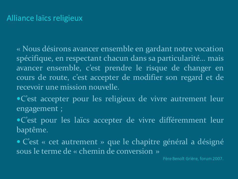 Alliance laïcs religieux « Nous désirons avancer ensemble en gardant notre vocation spécifique, en respectant chacun dans sa particularité… mais avanc