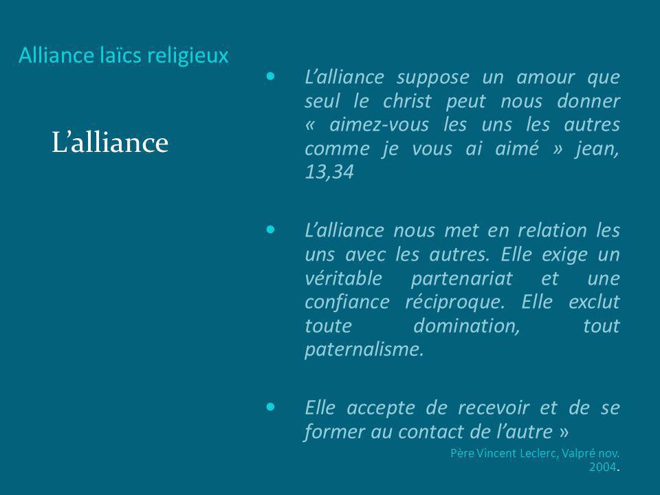 Alliance laïcs religieux Lalliance Lalliance suppose un amour que seul le christ peut nous donner « aimez-vous les uns les autres comme je vous ai aim
