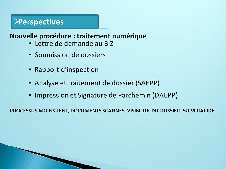 Perspectives Lettre de demande au BIZ Soumission de dossiers Rapport dinspection Analyse et traitement de dossier (SAEPP) Impression et Signature de P