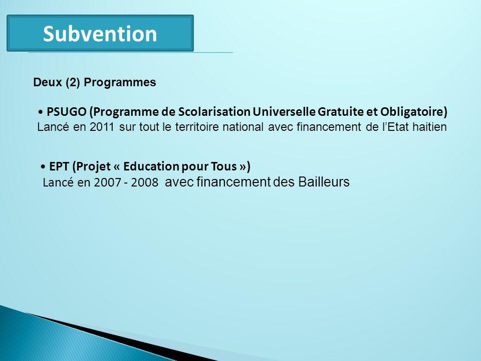 Subvention EPT (Projet « Education pour Tous ») Lancé en 2007 - 2008 avec financement des Bailleurs PSUGO (Programme de Scolarisation Universelle Grat