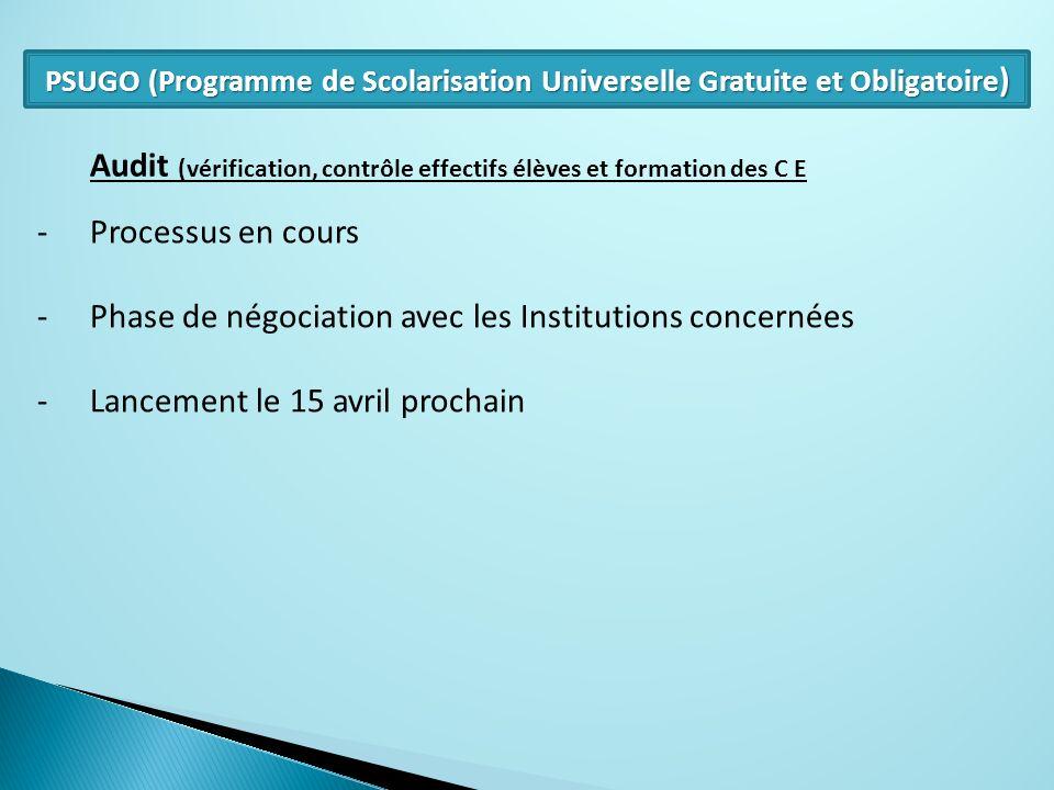 Audit (vérification, contrôle effectifs élèves et formation des C E -Processus en cours -Phase de négociation avec les Institutions concernées -Lancem
