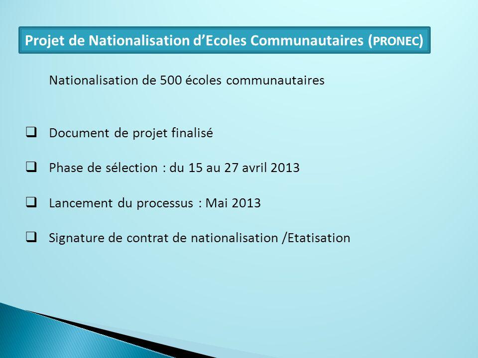 Projet de Nationalisation dEcoles Communautaires ( PRONEC ) Nationalisation de 500 écoles communautaires Document de projet finalisé Phase de sélectio
