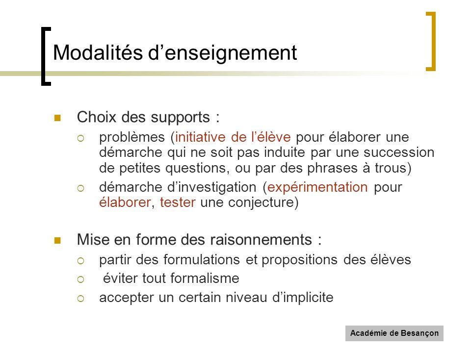 Académie de Besançon Modalités denseignement Choix des supports : problèmes (initiative de lélève pour élaborer une démarche qui ne soit pas induite p