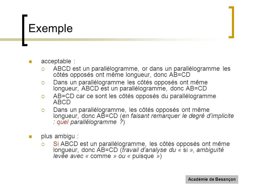 Académie de Besançon Exemple acceptable : ABCD est un parallélogramme, or dans un parallélogramme les côtés opposés ont même longueur, donc AB=CD Dans